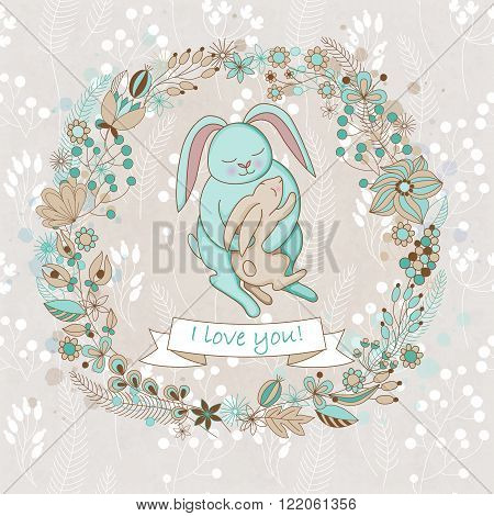 Vector cute card for Happy mothers day. Background with floral wreath and Mother's hugs. Cute rabbits - mom and baby.