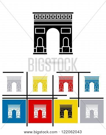 Triumphal Arch in Paris icon or Triumphal Arch sign. Vector Triumphal Arch in Paris pictogram