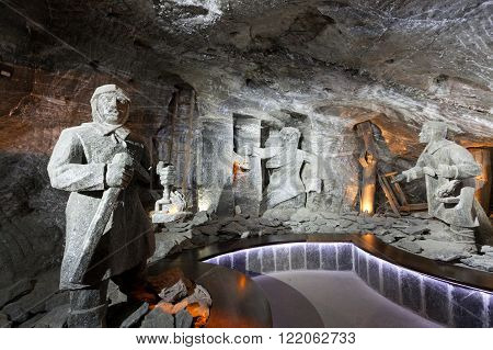 WIELICZKA POLAND - JANUARY 2 2015: Wieliczka Salt Mine (13th century) is one of the world's oldest salt mines. Has over 300 corridors and 300 chambers on 9 levels.