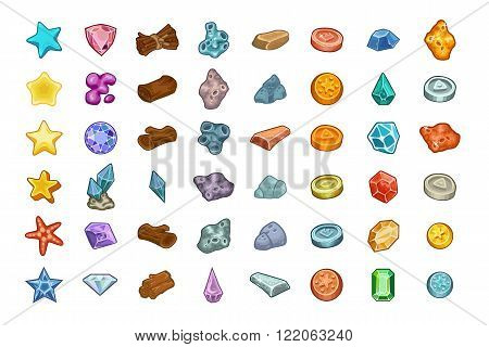 Cartoon game resources set: coin stone wood crystal nugget and mucus