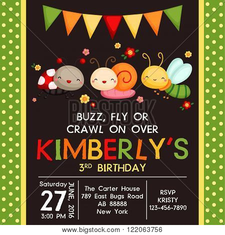 a vector of cute insect birthday invitation