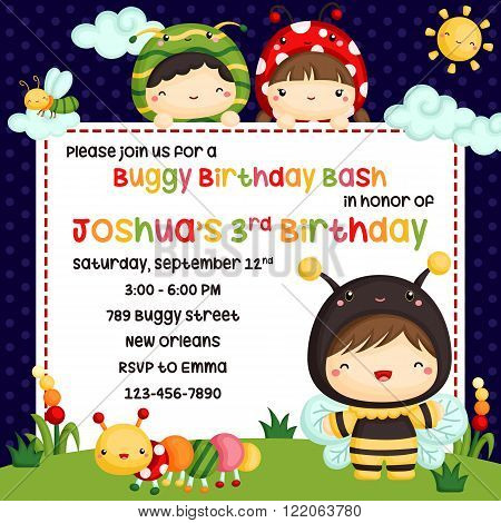 a vector of cute kids bugs birthday invitation