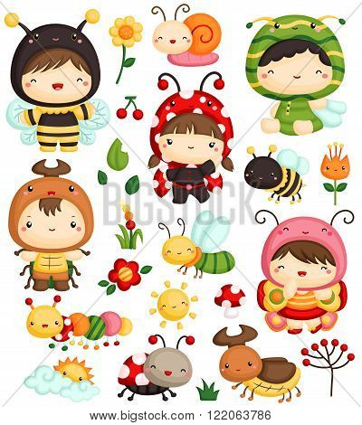 a vector set of cute kids in bugs costume