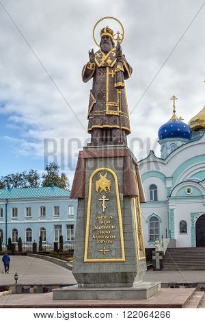 Zadonsk Russia - October 9 2015: Nativity of the Virgin Monastery. Monument to Holy Hierarch Tikhon of Zadonsk Bishop Voronezh