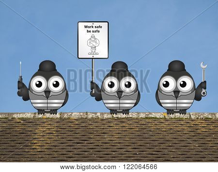 Construction work safe be safe message with construction worker birds perched on a rooftop against a clear blue sky