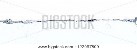 Long line water surface and turbulences against white background