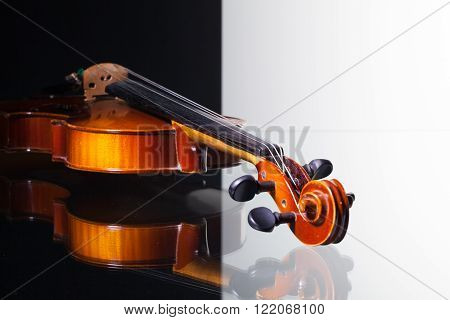 Old violin isolated on black and white background and glass desk