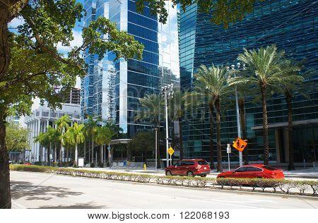 Brickell avenue of Miami Downtown, Unites States