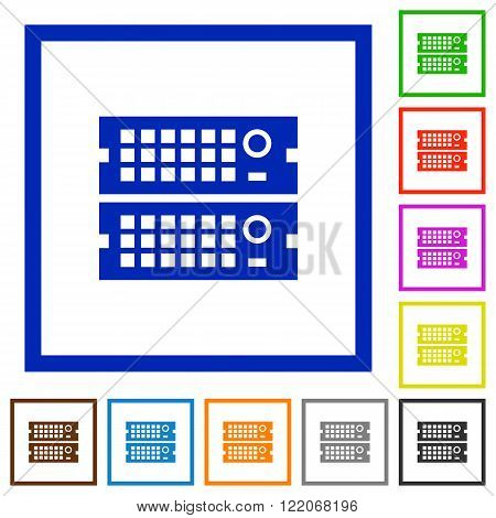 Set of color square framed rack servers flat icons on white background