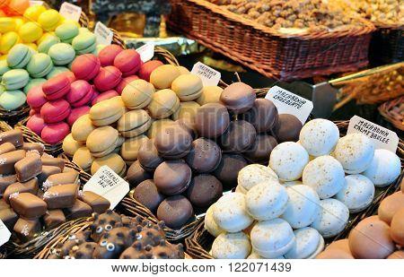 Macarons in the Boqueria food market, Barcelona