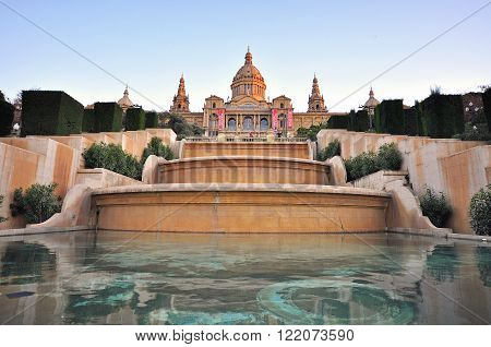 BARCELONA SPAIN - JANUARY 23: National museum of Art in Barcelona Spain on January 23 2015. Barcelona is the secord largest city of Spain. ** Note: Soft Focus at 100%, best at smaller sizes