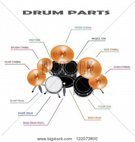 infographic of drum parts on white background
