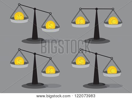 Set of four vector illustrations of gold coins on old fashion balancing beam weighing scales isolated on grey background for foreign exchange rate concept.