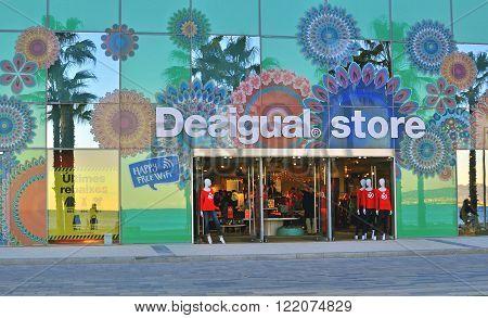 BARCELONA SPAIN - FEBRUARY 1: Desigual clothing store in the street of Barcelona on February 1 2015. Desigual is a casual clothing brand based in Barcelona Spain.