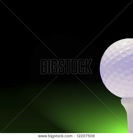 Golf ball and tee on grad background