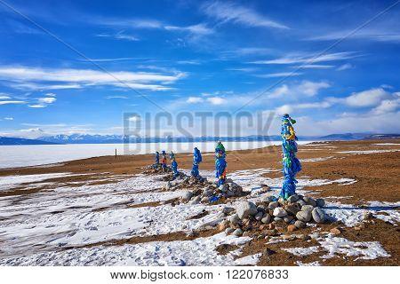 Six western ovoo shamanic sanctuary Arvan-Gurvan-ovoo ( translates as thirteen ovoo ) . Mongolia poster