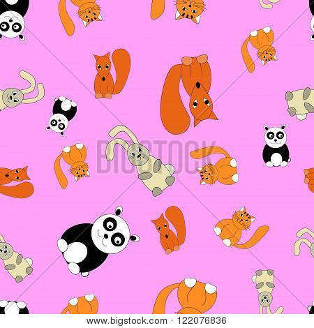 Seamless pattern. Drawn animals. Ideal for printing on fabric and paper baby invitation