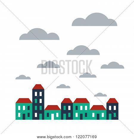 Row of bright terraced houses, flat design illustration