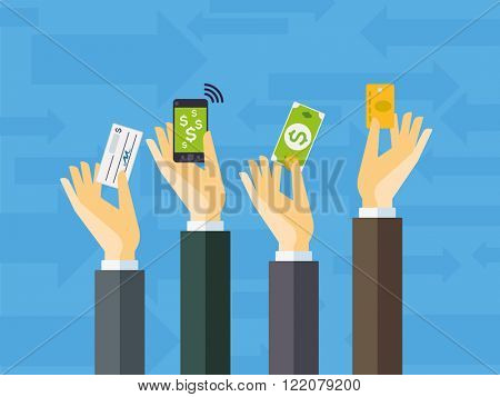 Flat design illustration of payment methods - hands holding cheque, smart phone, dollar cash and credit card