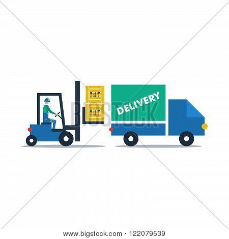 Commodity loading truck concept, flat design illustration