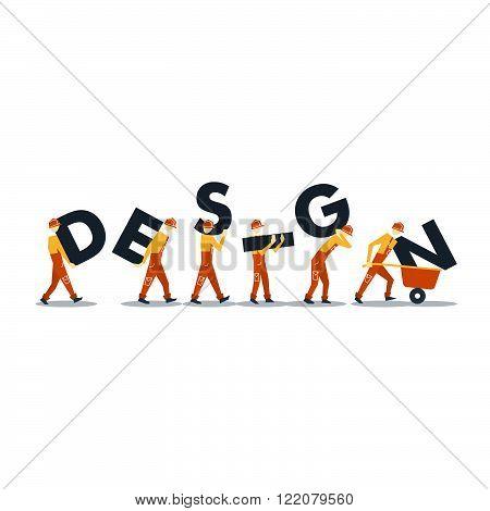 Construction men concept isolated, flat design illustration