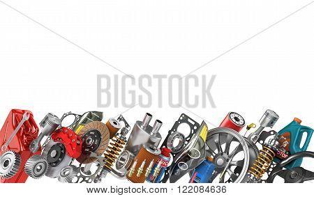 Border of auto parts isolated on white. Auto service.