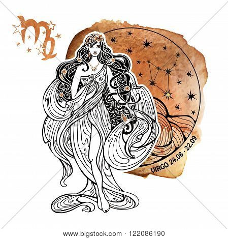 Virgo zodiac sign with Horoscope circle.Vector Watercolor texture stein. Artistic background.
