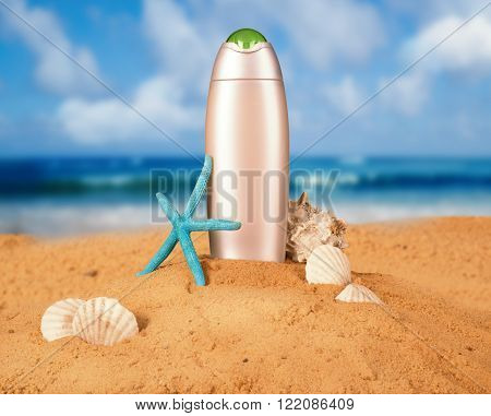gray packaging sunblock at the beach background