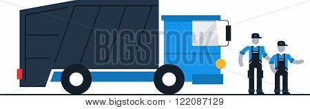 Garbage truck drivers and workers, flat design illustration