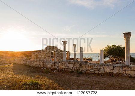 Ruins of Chersonesus basilica- ancient Greek town near modern Sevastopol. Autumn sunset. UNESCO World Heritage Site. Crimea Russia.