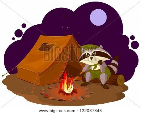 Summer holiday camp. Scout raccoon sitting around campfire. Raccoon tourist tent set. Camping. Cartoon illustration in vector format