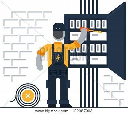 Electrician man at work, flat design illustration
