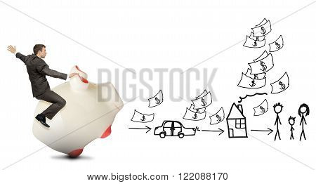 Businessman riding pigy bank on white background with drawing, business concept