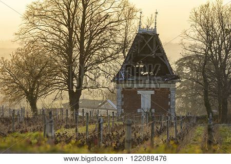 Hut in vineyards of the Beaujolais, France