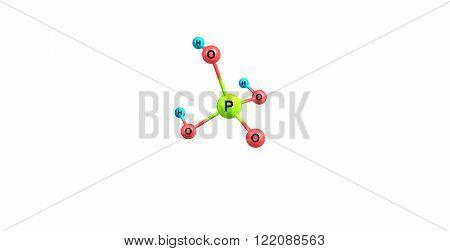 Phosphoric acid or orthophosphoric acid is a mineral acid having the chemical formula H3PO4. 3D illustration