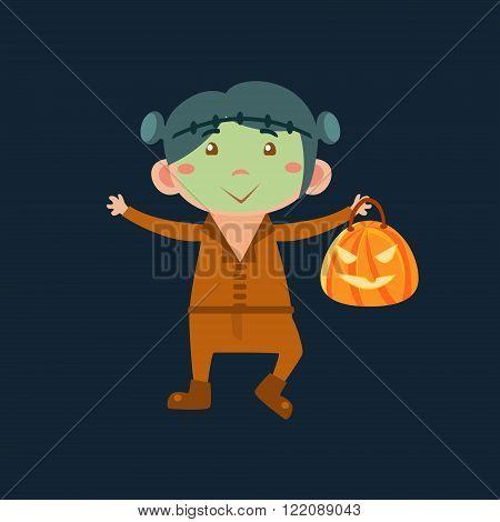 Boy In Frankenstein Haloween Disguise Funny Flat Vector Illustration On Dark Background