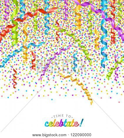 Party multicolor confetti and streamers .Birthday card or celebration vector design.