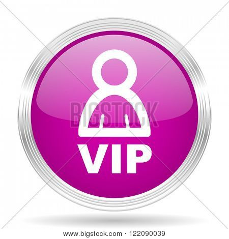 vip pink modern web design glossy circle icon