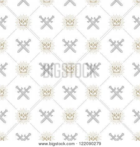 Vector seamless background with crossed swords and sunburst royal crown - pattern for wallpaper, wrapping paper, book flyleaf, envelope inside, etc.