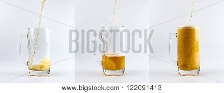 Set of three beer glass mugs against white background. Filling glass mugs with beer sequence.
