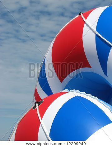 Inflatable rafts with Union Jack pattern.