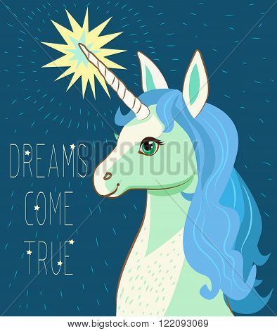 Unicorn Face. Cartoon Vector. Motivation Card With Stars Decor Elements Cute Unicorn And Text