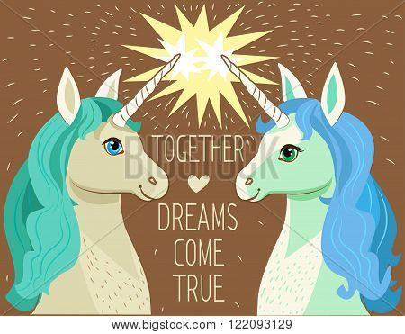 Unicorn Face. Cartoon Vector. Motivation Card With Stars Decor Elements Cute Two Enamored Unicorns And Text