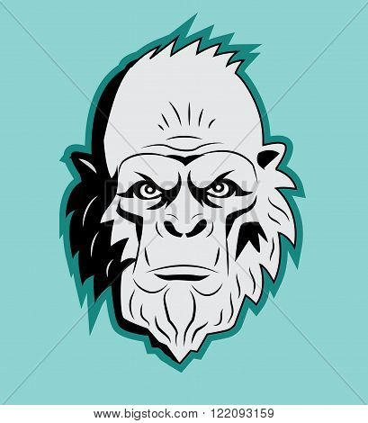Yeti Bigfoot Head. Vector Sasquatch. Abominable Snowman. Yeti Monster. Hairy Giants. Bigfoot Portrait. Yeti As Toy. Yeti Costume. Bigfoot Head Mask. Bigfoot Picture. Sasquatch Sticker.