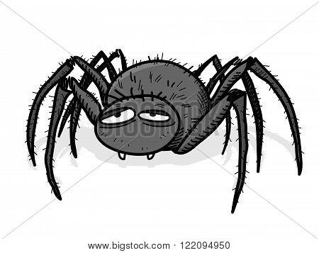Tarantula, a hand drawn vector illustration of a spider/tarantula with shadow backdrop (editable).