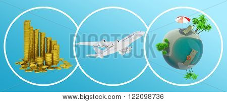 Coins, jet and earth globe in circles on blue background with arrows