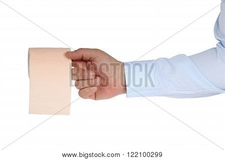 Toilet-paper. Toilet roll on the finger. Isolation on a white background. Clipping path.