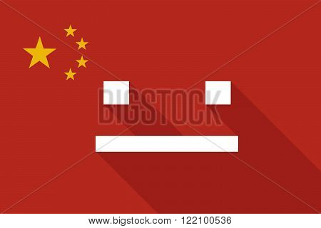 China Long Shadow Flag With A Emotionless Text Face