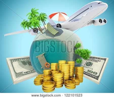 Earth globe with jet and coins on blue background, travel concept