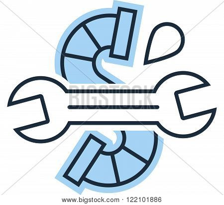 Plumbing work service, linear design logo isolated